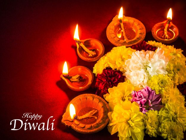 Traditional Clay Diya Lamps Lit With Flowers For Diwali Festival Celebration Diwali Festival Diya Lamp Festival Celebration