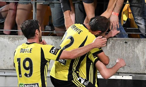 So happy! Andrew Durante and Tom Doyle mob Matija Ljucic after his wonder-strike to draw level with Western Sydney Wanderers. 14.01.18