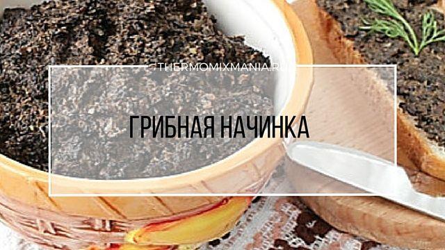 Грибная начинка Термомикс.   Ингредиенты: •100 г морковки (кусочками) •40 г оливкового масла •100 г сушеных грибов •150 г соленых огурцов  •350 г кипятка •150 г лука (кусочками) •80 г сливок 33% •соль Способ приготовления: 1.Соленые огурцы почистить и удалить семена; 2.Любые сушеные грибы замочить в холодной воде на 3 час; 3.В чашу добавить огурцы и измельчить: 5 сек/ск.5, выложить; 4.Добавить грибы и кипяток, варить: 25 мин/100°/ск.1; 5.По необходимости уменьшить  до 90°…