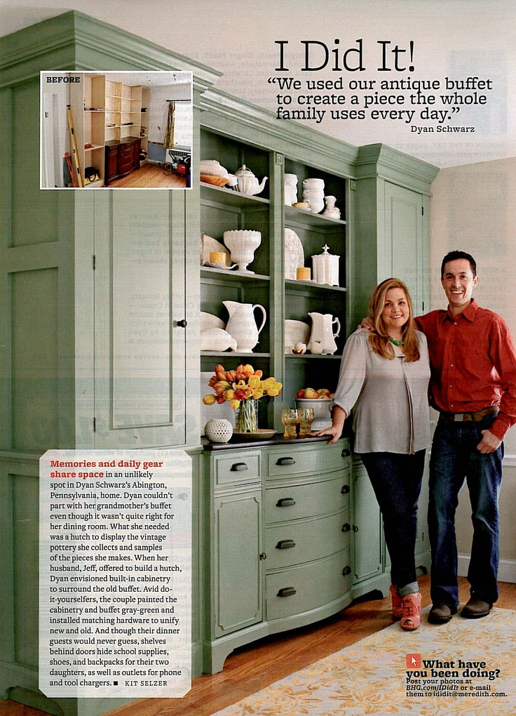Turn a low dresser into a wall unit china cabinet