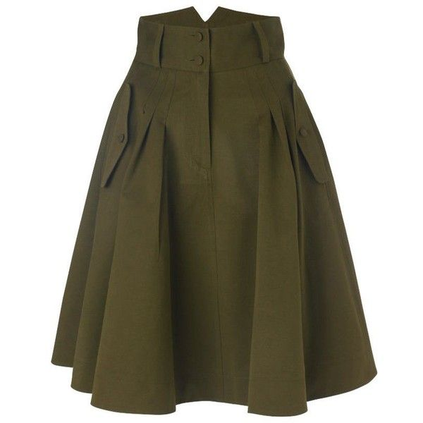 otis skirt (£61) ❤ liked on Polyvore featuring skirts, bottoms, saias, green, women, green skirt, zipper skirt, pleated skirt, brown skirt and french connection