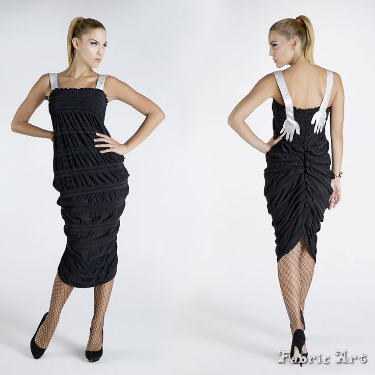 """Midi dress with applique straps """"Hands"""" and tier back detail."""