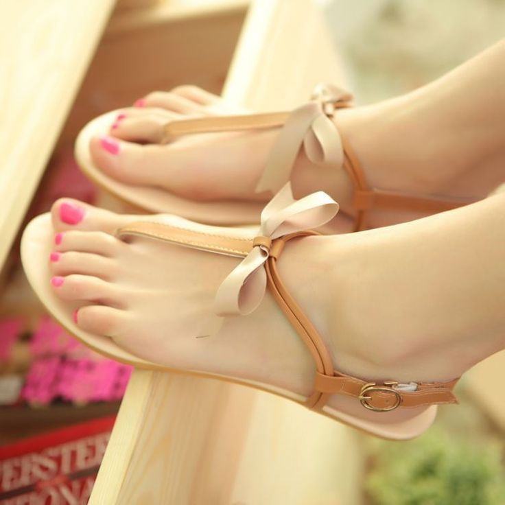 Women bow Bow ankle strappy flat with clip toe Roman Sandals Flip Flops Shoe #NEW #TStrap