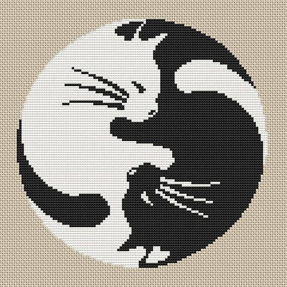 Yin Yang Cat cross stitch pattern Yin Yang Cat Design Yin Yang