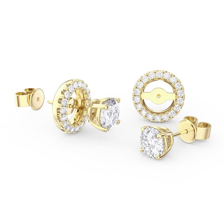 Buy Fusion Diamond and Stud Halo Jacket Silver Earring Set (YELLOW GOLD), E11674 - £100 from Jian London. Free Delivery on all orders.