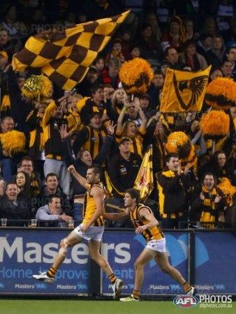 AFL 2012 Rd 18 - Essendon v Hawthorn.  Welcome back Luke Hodge...celebrating after kicking a goal.
