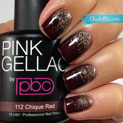 Gel polish glitter gradient using Pink Gellac Chique Red and Luxury Gold