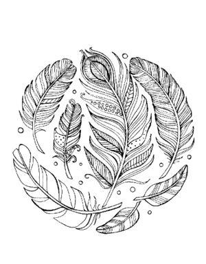 Free feather mandala coloring sheet