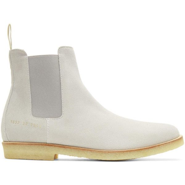 Common Projects Grey Suede Chelsea Boots ($280) ❤ liked on Polyvore featuring men's fashion, men's shoes, men's boots, grey, mens suede chelsea boots, mens grey chelsea boots, mens gray boots, common projects men's shoes and mens grey suede shoes