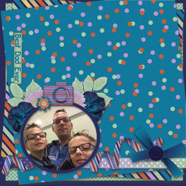 Best dad ever - Digital Scrapbooking Layout I created using #SpringFeelings Fathers Day by Designs by Romajo and the free challenge template by Shelly Marie Scraps at With Love Studio. I love the stacked papers from the template and the great father elements in the kit.