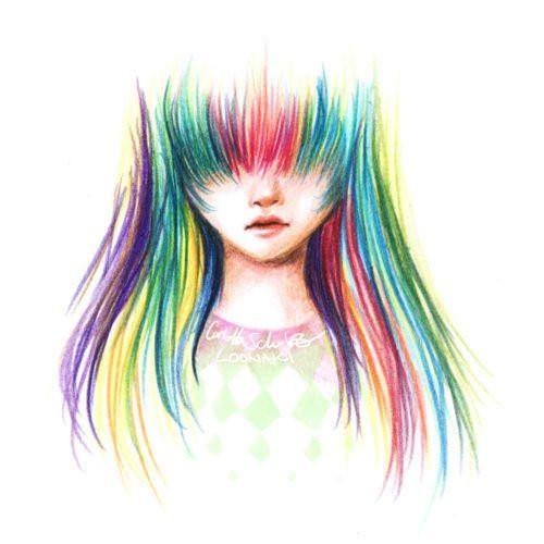 girl with rainbow hair drawing