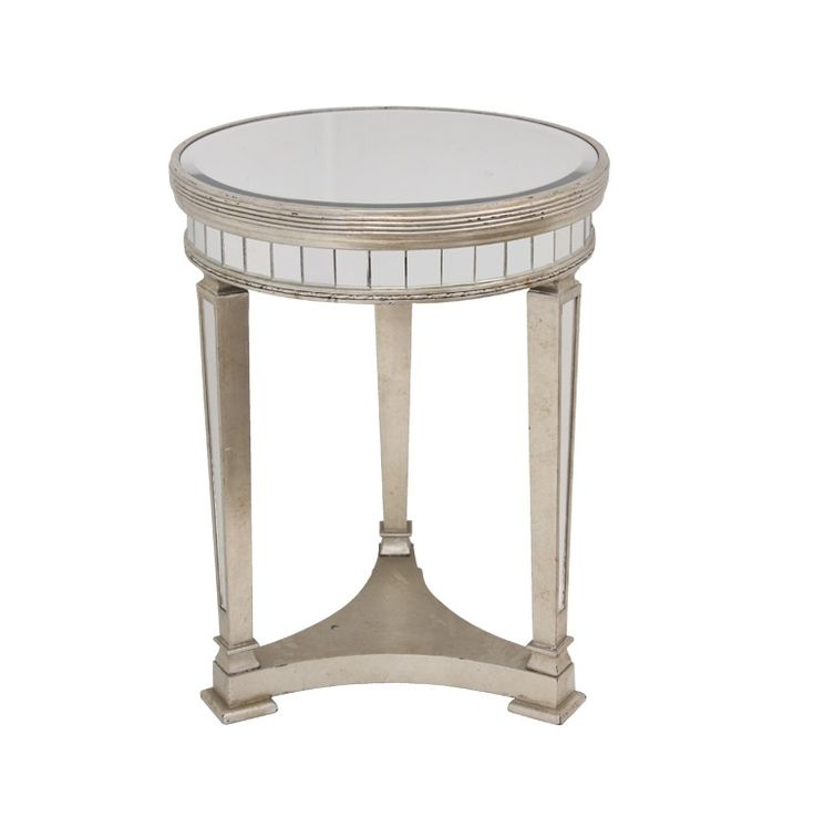 Antique Round Mirrored Side Table 55cm x 66cm