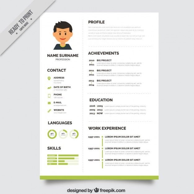 resume models creative resume template psd file green x - Resume And Cv Format