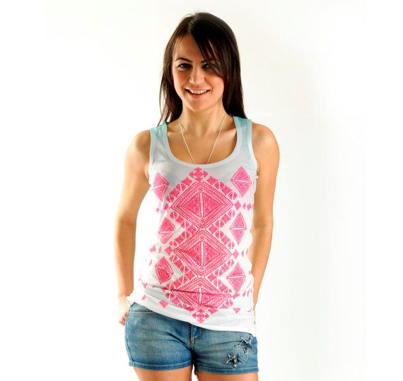 Hey, I found this really awesome Etsy listing at https://www.etsy.com/listing/189144212/new-pink-aztec-women-t-shirt-one-side