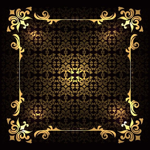 Luxury golden frame on a background with ornaments Free Vector