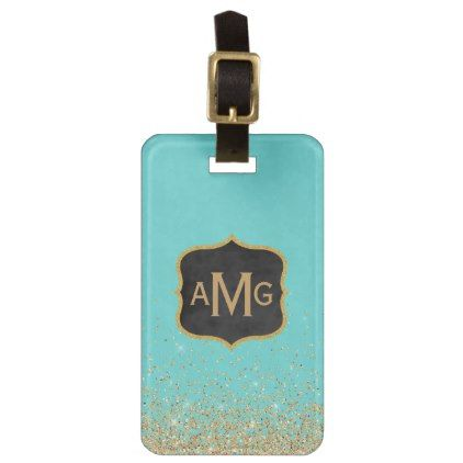 Tiffany Blue Gold Giitter Damask Modern Monogram Luggage Tag - stylish gifts unique cool diy customize