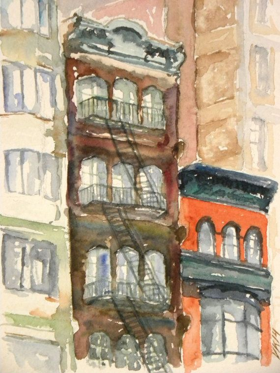 New York. Watercolor by EarlyMorningWalk on Etsy