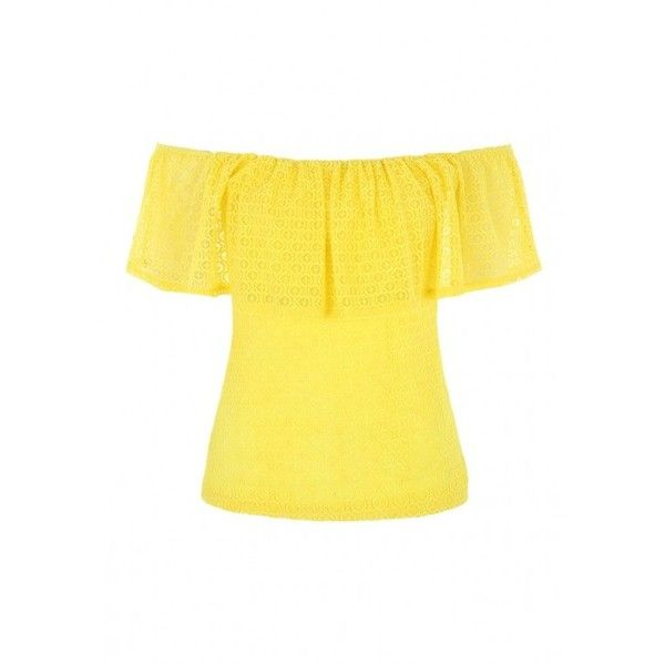 Jane Norman Yellow Lace Ruffle Bardot Top (41 CAD) ❤ liked on Polyvore featuring tops, blouses, flounce blouse, yellow ruffle top, lace blouse, frill blouse and frilly blouse