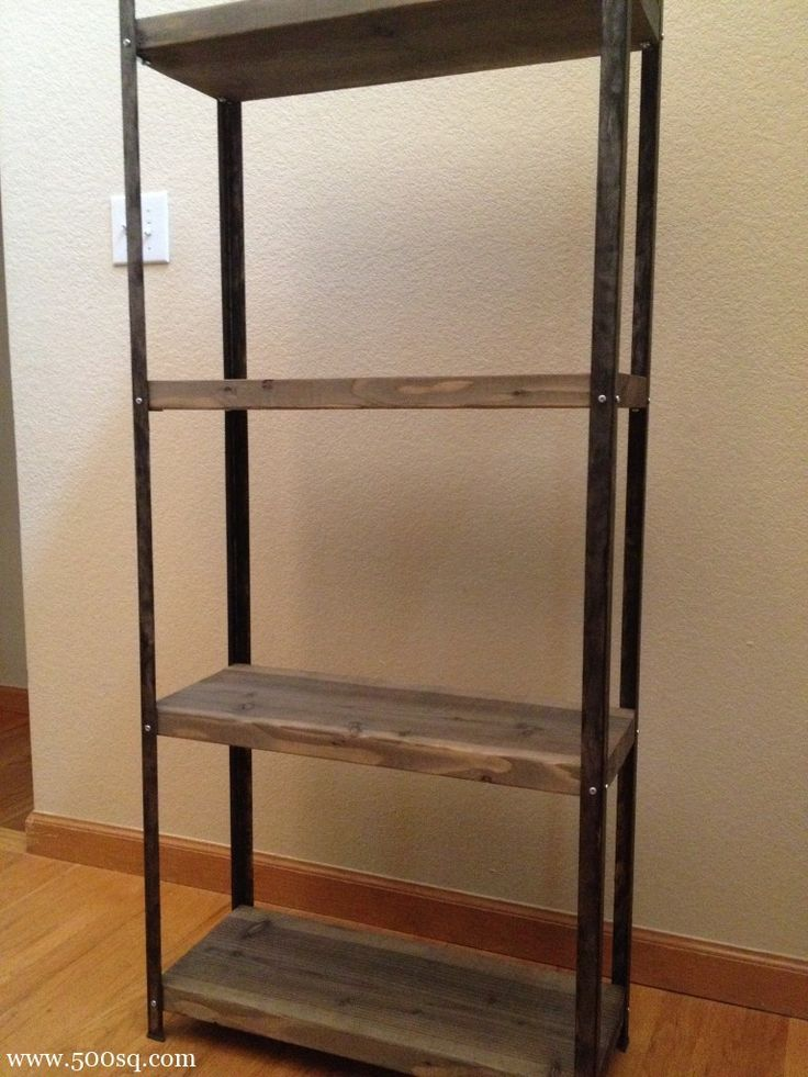 $14.99 Ikea galvanized Hyllis Shelf given an industrial look with rustic wood shelves and paint