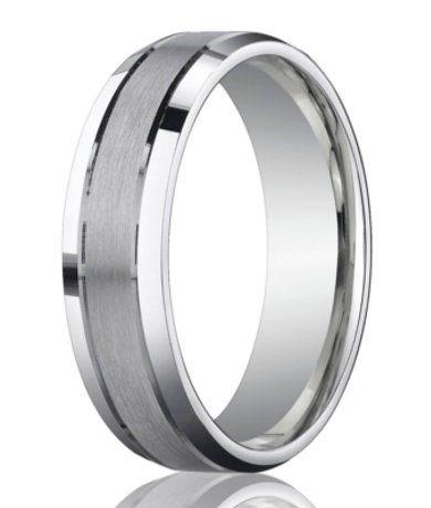 Designer Platinum Ring | Satin Finish Beveled Edges