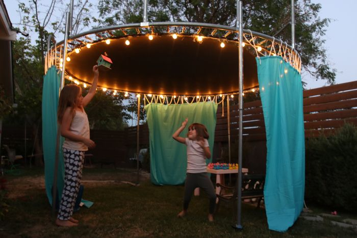 Diy Trampoline Fort Upcycle Amp Environment Backyard