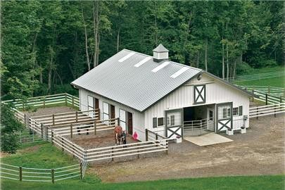 Small barn connected to individual turnout. Would make a great boarding horse barn.