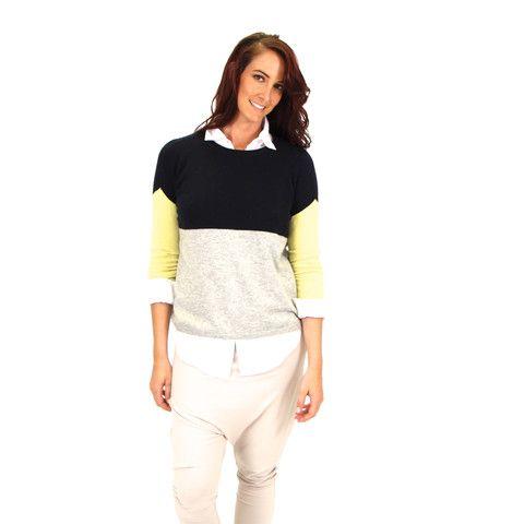 3 COLOUR BLOCK CASHMERE JUMPER – Boutique Online Fashion Clothing Store | Marshmellow