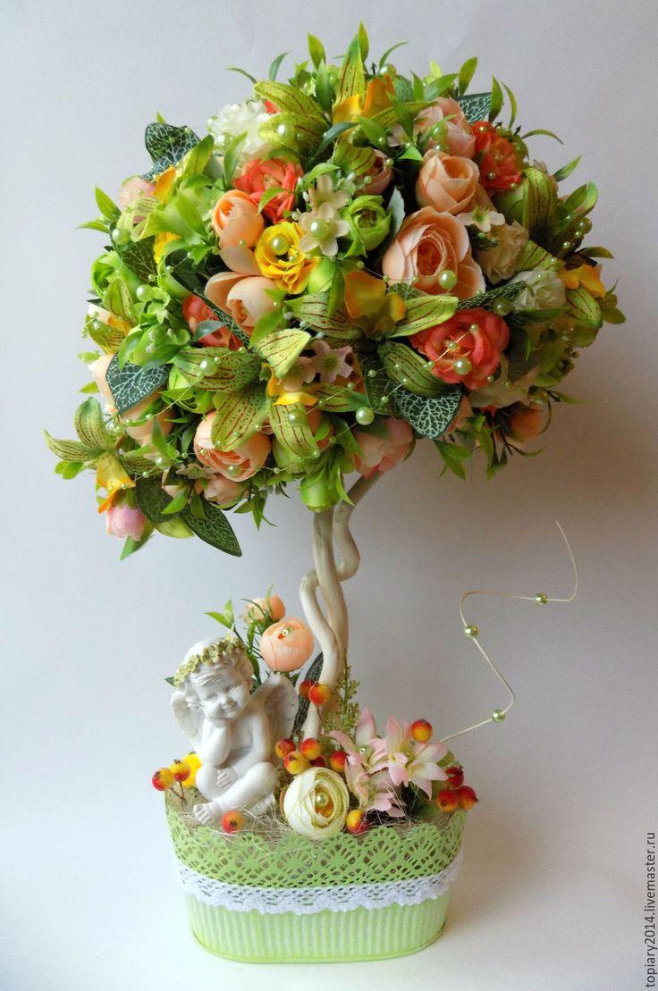 """Купить Топиарий """"Весна!"""" - комбинированный, топиарий, композиция, Дерево счастья, ручная работа, подарок, ангел"""