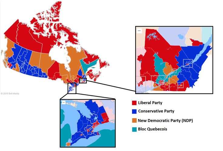 Results Of Canadian General Election 2015 By Bell Media Canada Election Map Maps Politics Sociology Pinterest