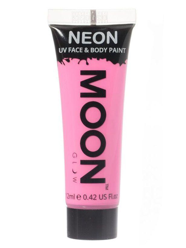 Gel cuerpo y rostro rosa pastel UV Moonglow™ 12 ml: Este tubo degelpara cara y cuerpo es de la marcaMoonglow™.Mide 7,5 cm de largo y contiene 12 ml de crema rosa pastel que brilla en la oscuridad ultravioleta.Puedes utilizarlo...