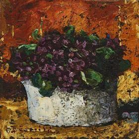 Vase with Violets - Octav Bancila
