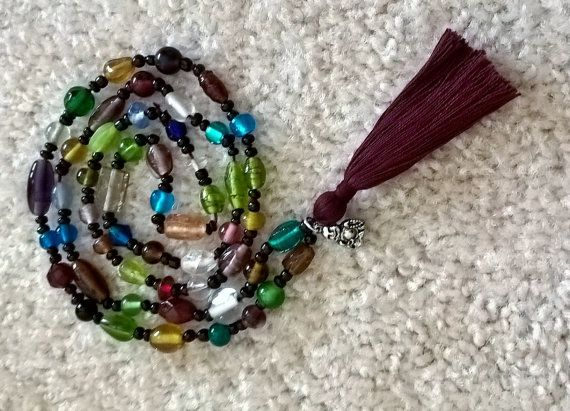 colorful glassbead necklace with happiness tassel by happymala