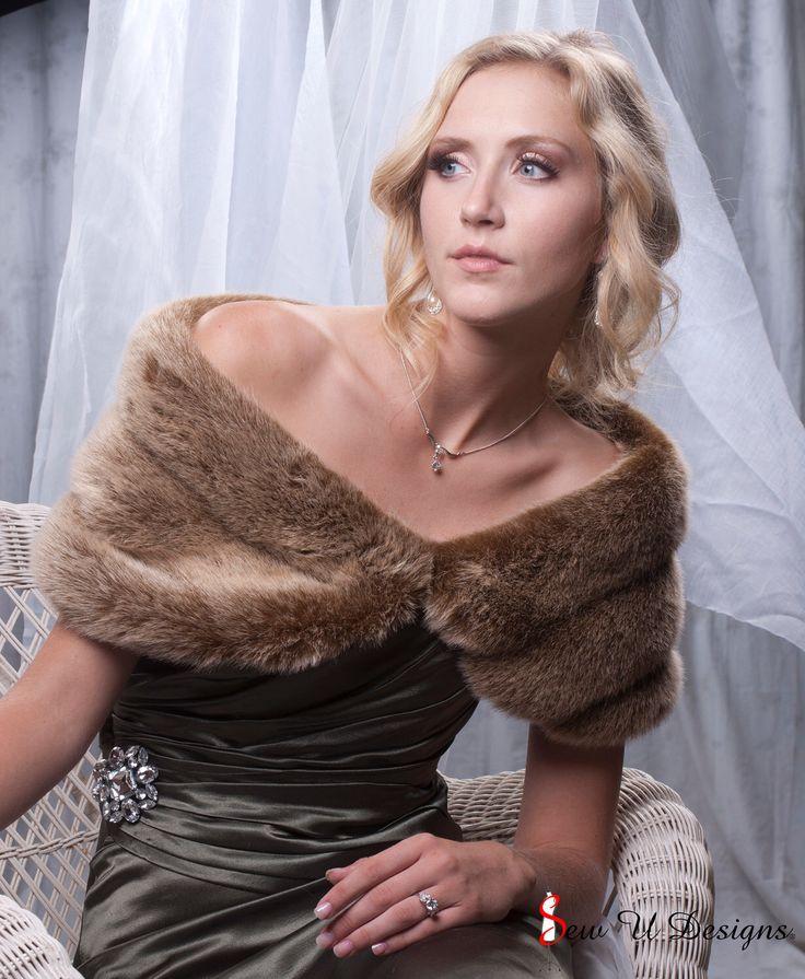 "Custom 8"" wide faux fur Wrap frosted light brown fur shawl winter wedding shrug by sewudesigns on Etsy https://www.etsy.com/uk/listing/105248350/custom-8-wide-faux-fur-wrap-frosted"