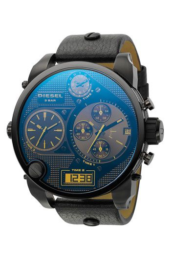 Love this watch. Big face watches are my favoriteTimezone, Style, Diesel Dz7127, Black Leather, Men Fashion, Zone Watches, Diesel Watches, Time Zone, Men Watches