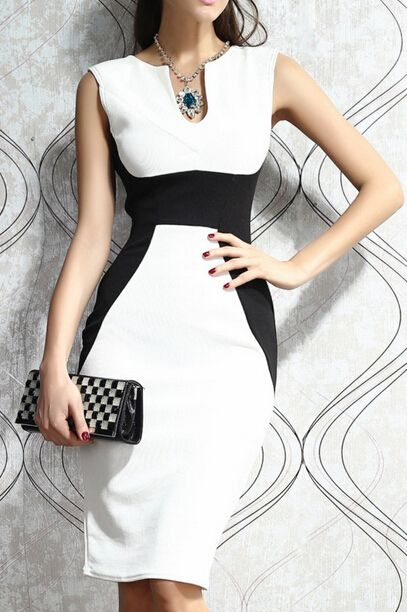 Vestido sin manga entallada-blanco y negro 12.66