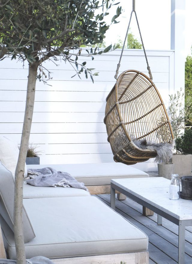 outdoor patio home decor with rattan swing chair and beautiful simple patio furniture