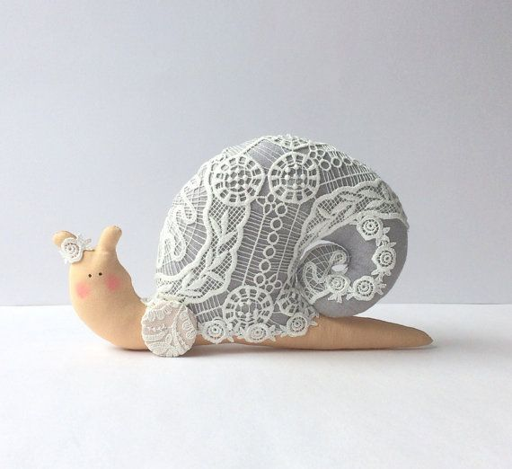 Such a cute item for kids' space! Stuffed snail Shabby chic Snail toy. Grey and by CherryGardenDolls. #auswandarrah