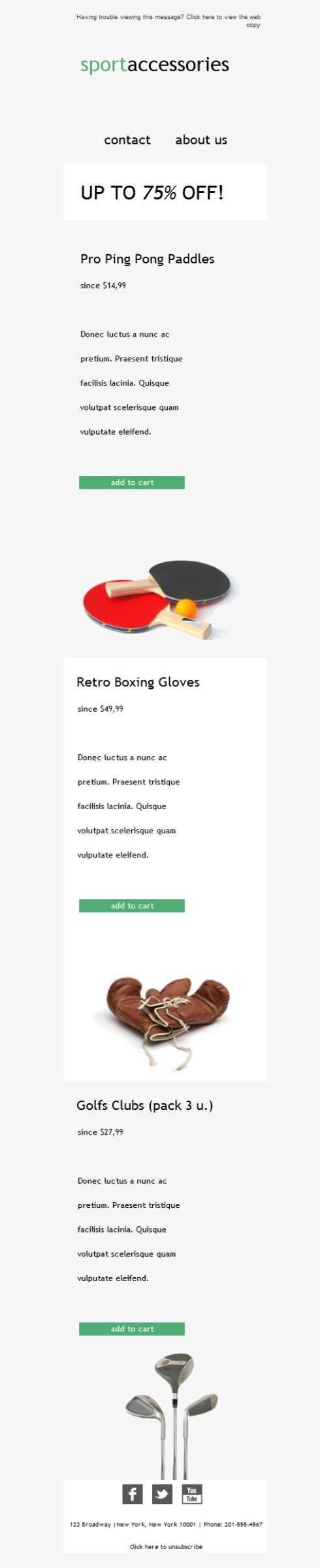 Versión responsive de esta plantilla newsletter para tiendas de deporte. Mira cómo queda en formato móvil, también disponible para tablets y ajustable para PC o Mac. Todo con Mailify.