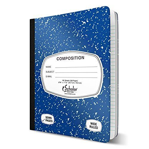 Norcom Composition Notebooks, College Ruled, Assorted Black and White (Pack of 5)