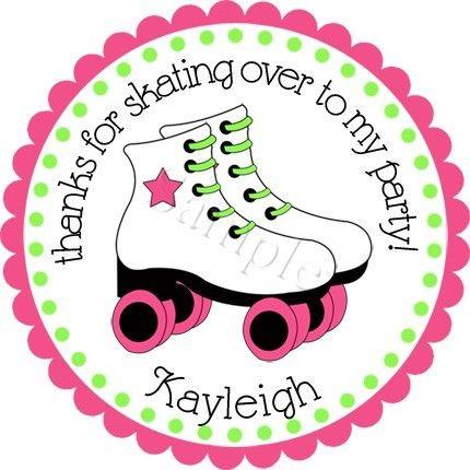 Roller Skate Bash Girls Personalized Stickers - Favor Labels, Party Favor…