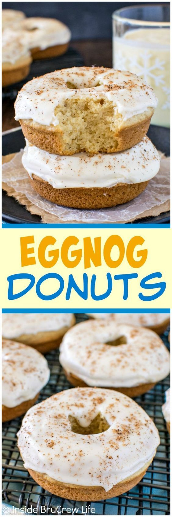Eggnog Donuts - homemade baked donuts with two times the eggnog flavor! Great breakfast recipe for the holidays!