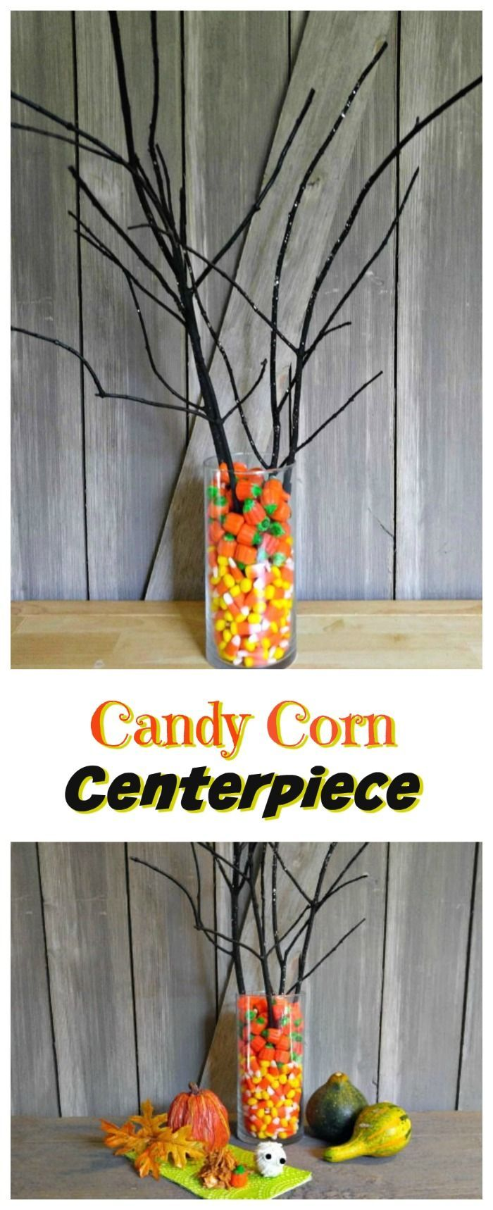 This candy corn centerpiece is simple to do and looks great on your Halloween party table #centerpiece #Halloween