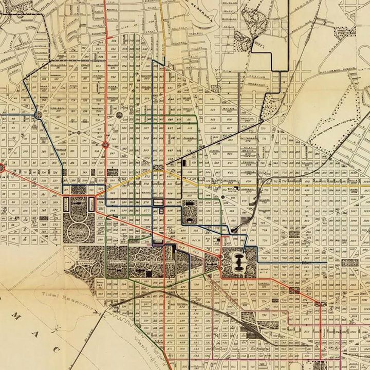 Historical Map Numbered Routes of Street Cars Washington DC