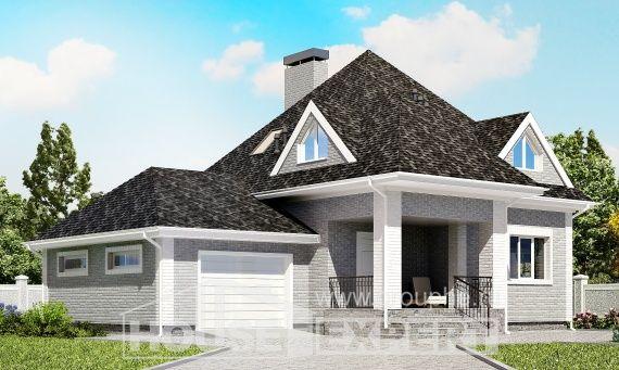 135-001-L Projekt domu dwukondygnacyjnego mansardą, garaż, ekonomiczny domek wiejski z cegieł, Gdańsk