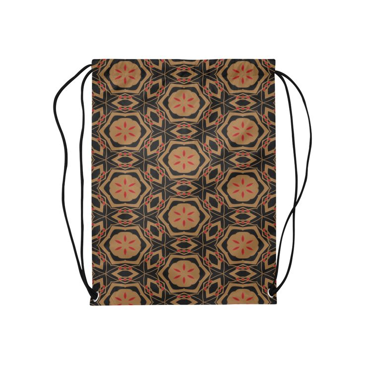 "Black, Bronze and Red  2682 Medium Drawstring Bag Model 1604 (Twin Sides) 13.8""(W) * 18.1""(H).Black, Bronze and Red 2682  Elegant black, bronze and red scribbles translated into a beautiful kaleidoscopes designed drawstring bag.  By celeste@khoncepts.com"