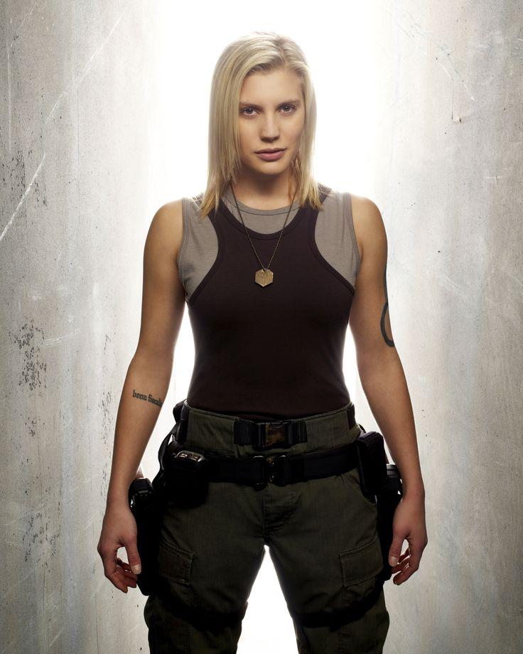 Katee Sackhoff as Starbuck on Battlestar Galactica