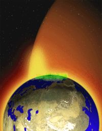 Artist's rendition of the Earth's plasma fountain, showing oxygen, helium, and hydrogen ions that gush into space from regions near the Earth's poles. The faint yellow area shown above the north pole represents gas lost from Earth into space; the green area is the aurora borealis, where plasma energy pours back into the atmosphere
