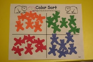 bear color sort. use with different kinds of punches. great for color recognition