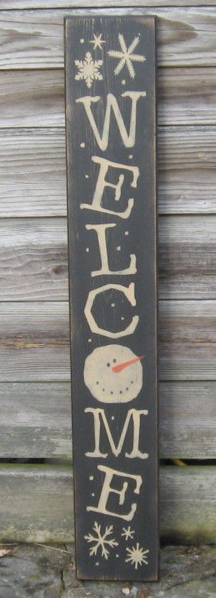Primitive Country Vertical Snowman Welcome Sign Winter