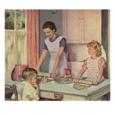 Illustration of Mother and Daughter Baking Together with Brother looking on by Douglass Crockwell